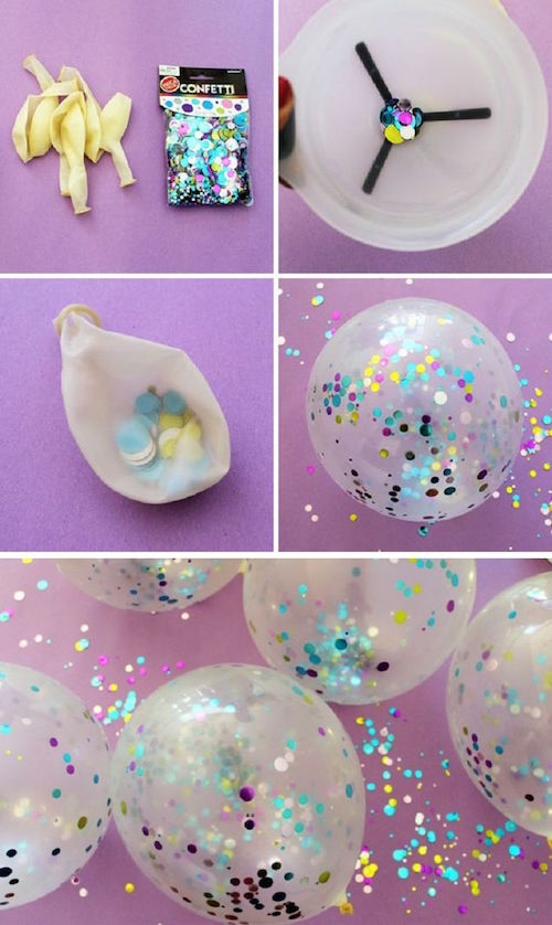 Put Confetti in Clear Balloons