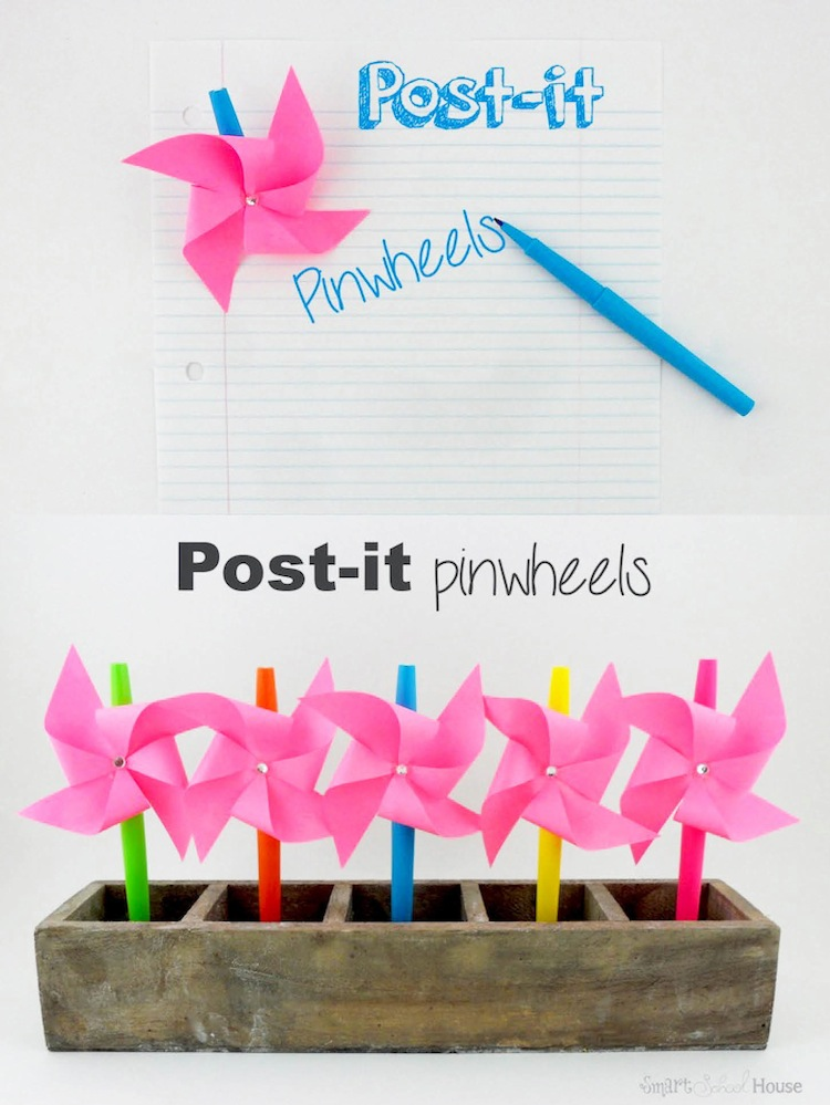 Post-it Pinwheels. A quick and easy craft!