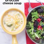 Broccoli Cheese Soup & Berry Salad
