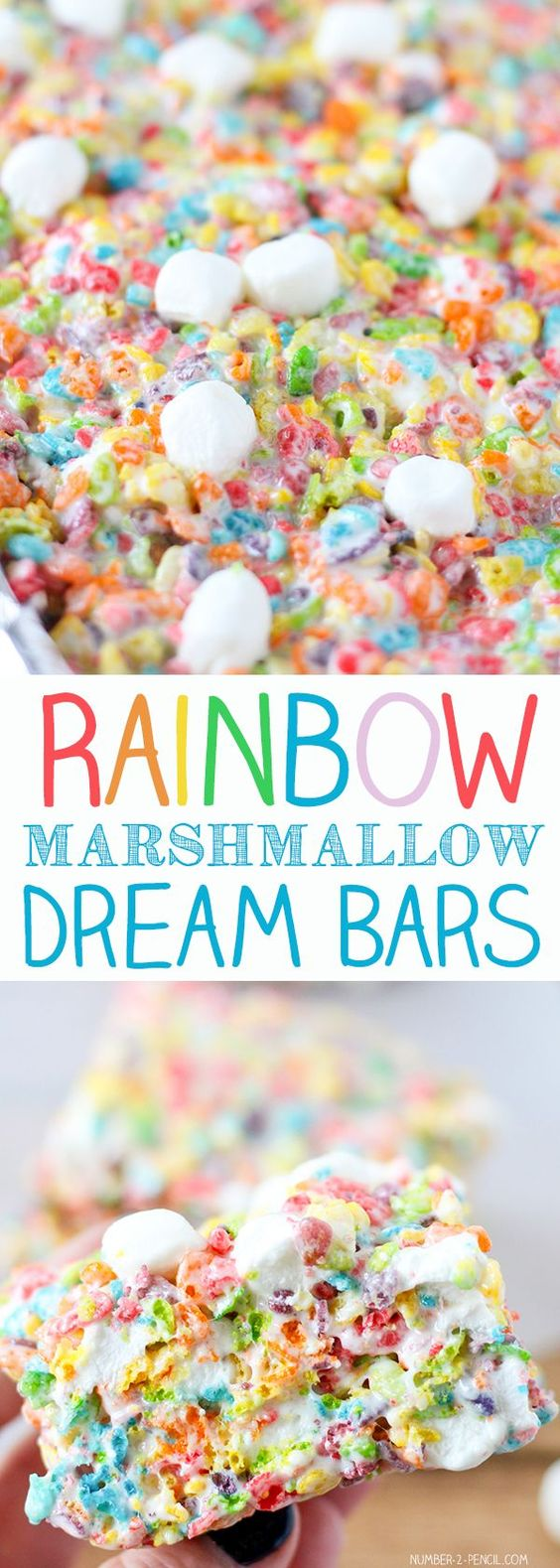 These Rainbow Marshmallow Dream Bars are the ultimate Fruity Pebbles treats! Super soft and colorful, these bars are so good that they needed a name that was a little more exciting than Fruity Pebbles