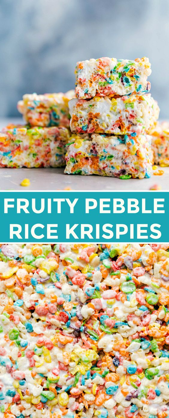 Colorful, sweet, and easy to make fruity pebble rice krispie treats will be a hit wherever you serve them! These treats take minutes to assemble, are easy to transport, and require only 6 ingredients.