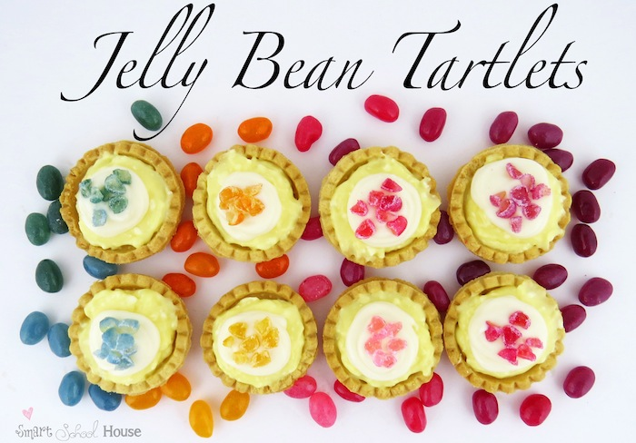 Jelly Bean Tartlets - Teeny tiny tartlets topped with bits of jelly bans #dessert #jellybean #diy