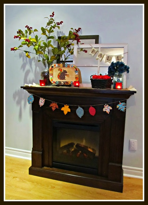 Red and Teal Autumn Mantel