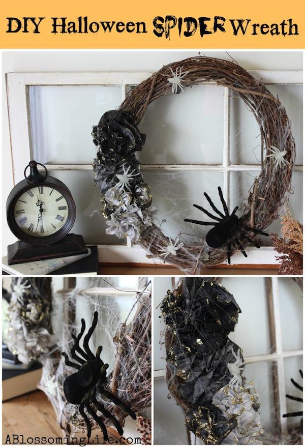 DIY Halloween Spider Wreath
