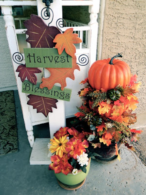 Pumpkin Topiary and Fall Porch