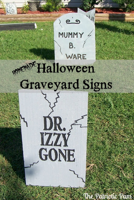 DIY Halloween Graveyard Signs