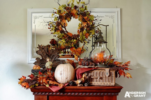 Rustic and Elegant Fall Mantel