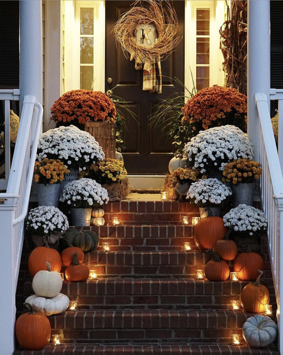 Fall Porch with Flowers and Pumpkins