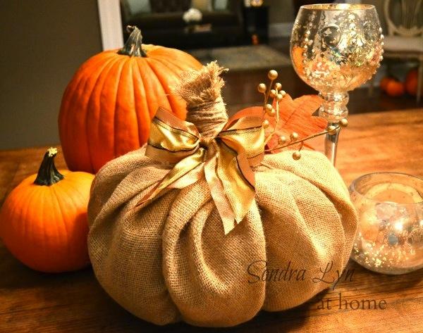 Burlap Pumpkin Centerpiece
