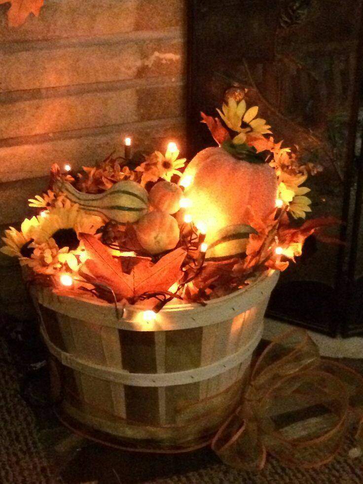 Fill a Basket with Leaves & Christmas Lights for Fall Porch Decor