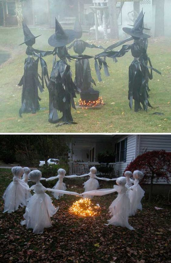 Lawn Ghosts - How creepy! Would you ever know these are made with drop cloths and clear packing tape? Easy!