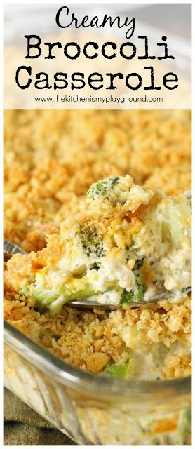 Creamy Broccoli Casserole ~ A family-favorite. With its cheesy broccoli goodness & buttered cracker topping, what's not to love? A perfect side for Thanksgiving, Christmas, or any day!