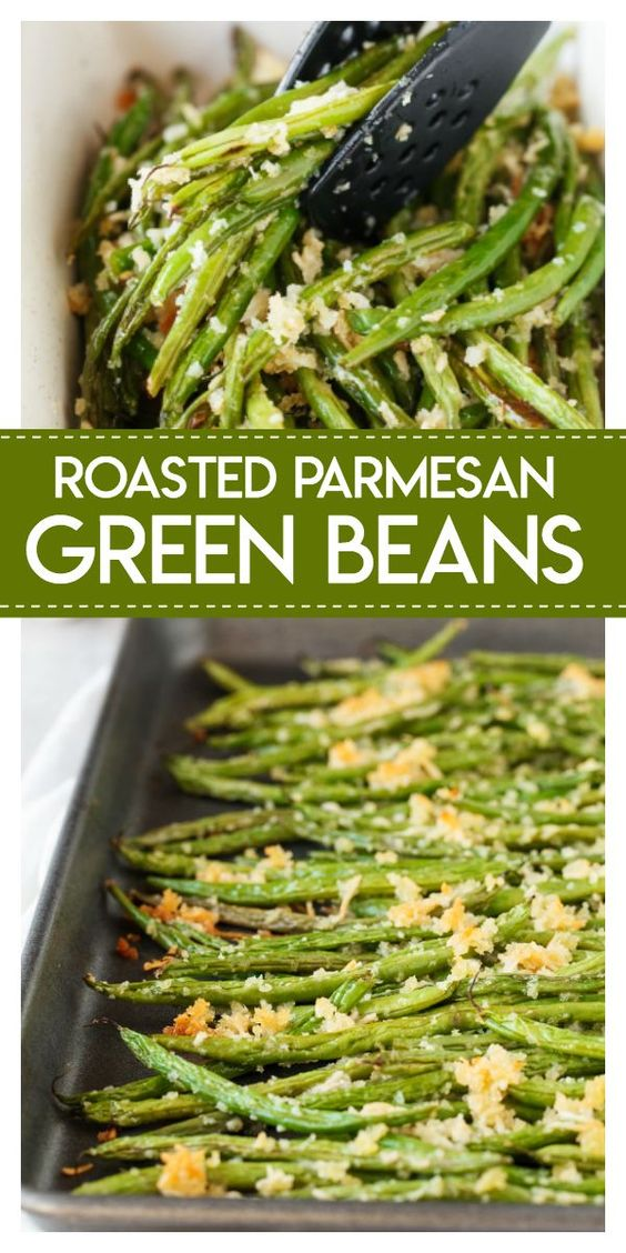 Roasted Parmesan Green Beans- delicious fresh green beans are roasted with a crunchy mixture of parmesan cheese and panko bread crumbs. They make the perfect side dish for any meal.