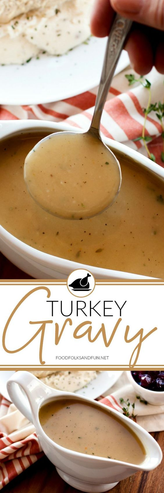 No Thanksgiving is complete without delicious, homemade Turkey Gravy. This recipe includes instructions to make turkey gravy with or without pan drippings. #Thanksgiving #ThanksgivingRecipe #ThanksgivingSide #Gravy