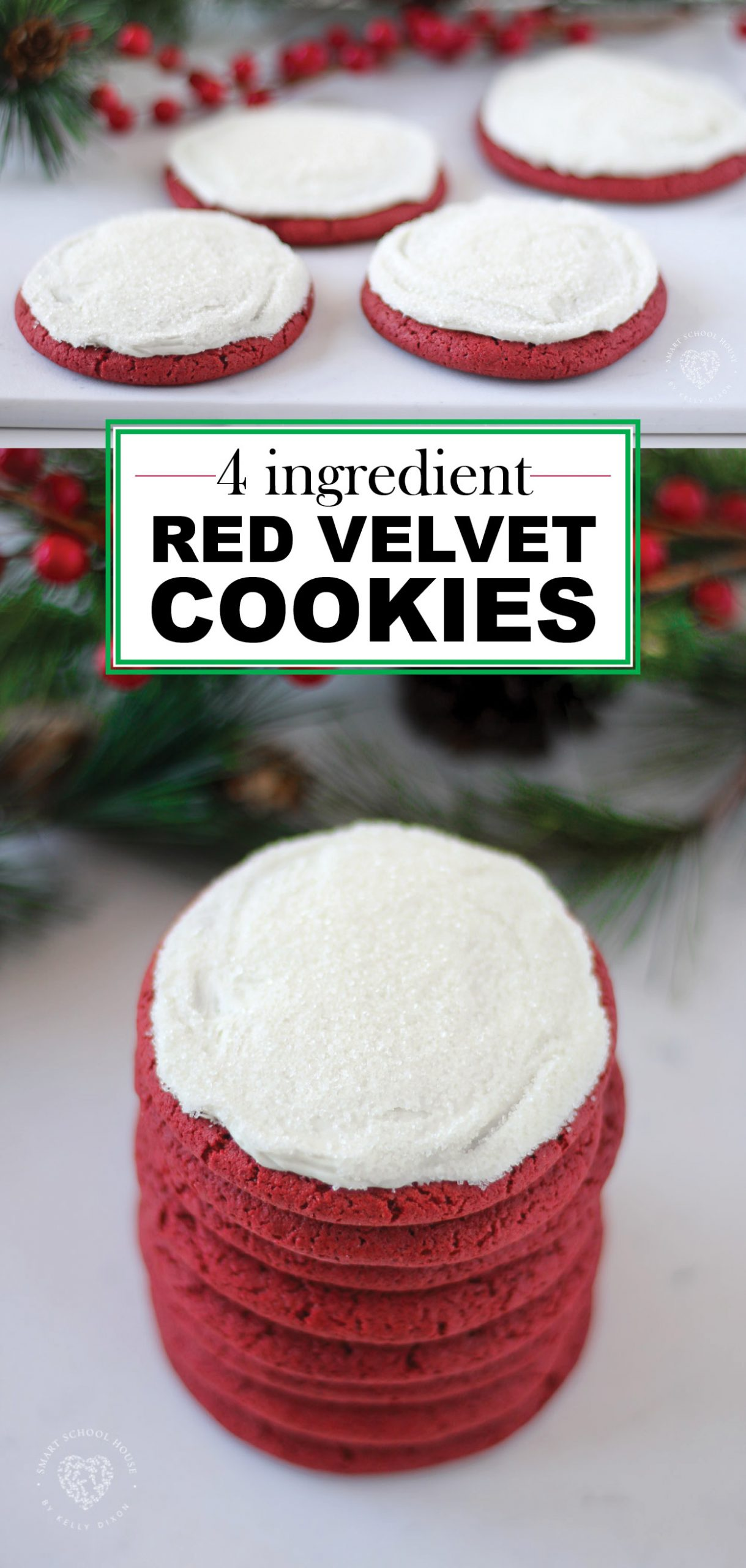 4 Ingredient Red Velvet Cookies! Easy to make, super soft, chewy, and perfectly delicious.