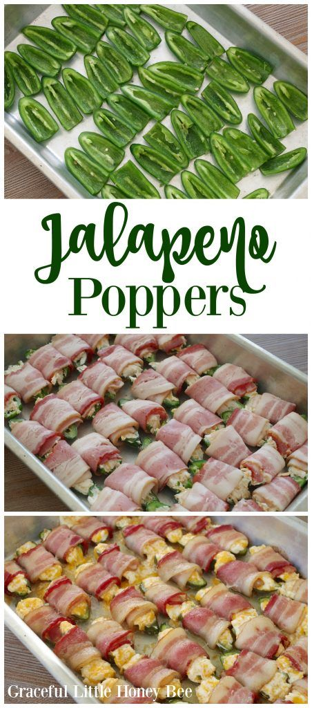 These Cheesy Bacon Jalapeno Poppers are so good! They're great for serving as an appetizer at any get together.