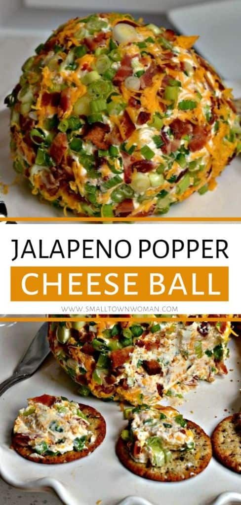 Jalapeno Popper Cheese Ball - Party worthy cheese ball filled with all of your favorite jalapeno popper flavors like crispy smoked bacon, zesty minced jalapenos, sharp cheddar, smooth cream cheese and sweet green onions.