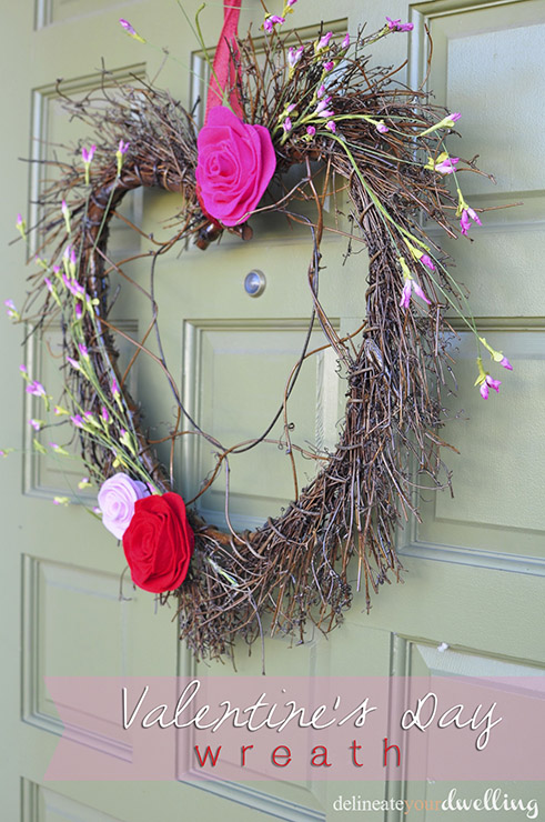 This whimsically perfect DIY Valentine's Day Wreath by Delineate Your Dwelling takes LESS than 1/2 hour to make