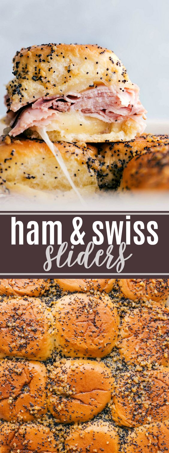 Ham and Cheese Sliders - Buttery and delicious party food: ham and cheese sliders with sweet Hawaiian rolls, deli (or leftover holiday) ham, swiss cheese, and a deliciously seasoned buttery topping.