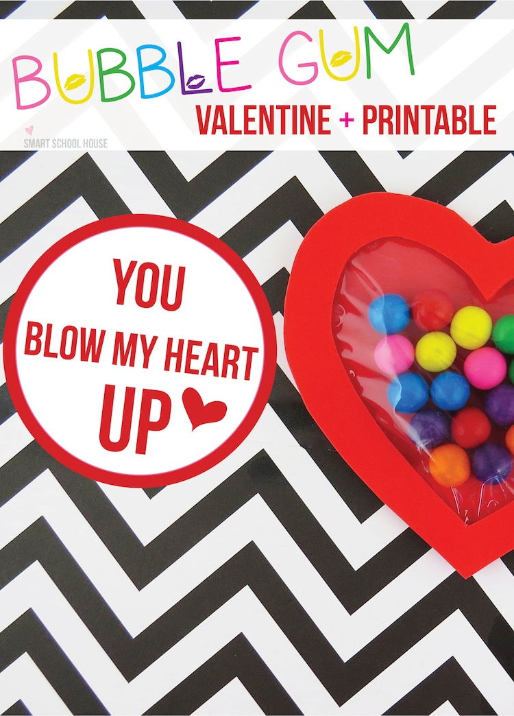 picture regarding Printable Valentine Craft identified as Blow My Centre Up - Bubble Gum Valentine Craft Programs