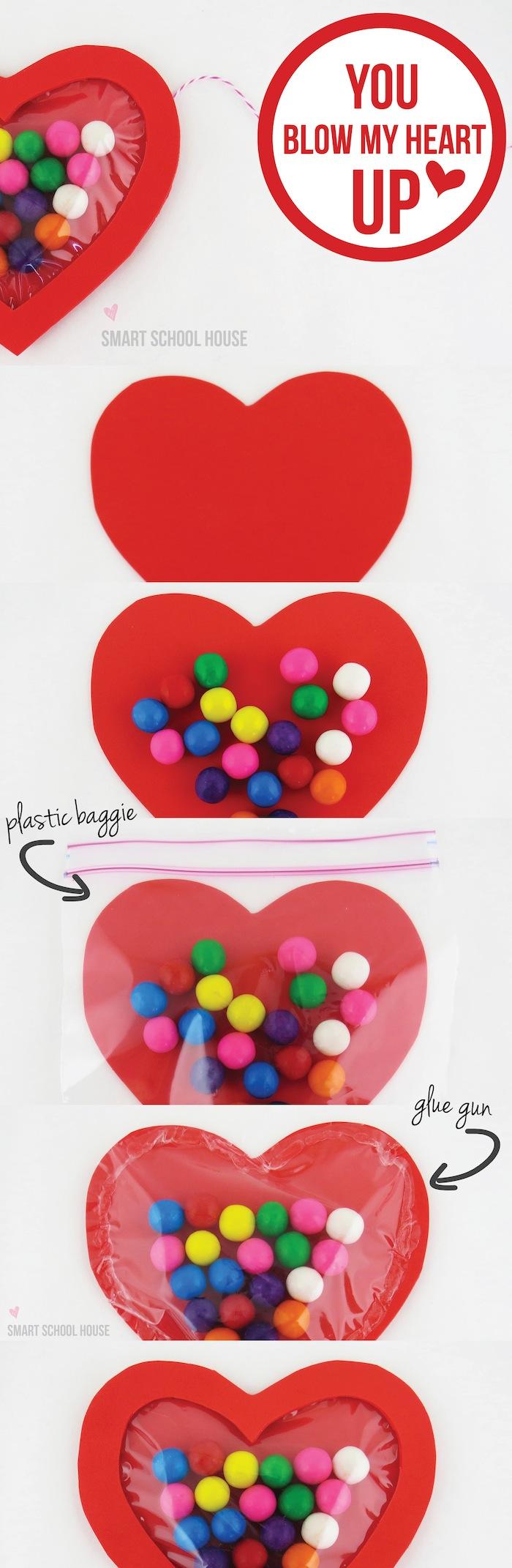 Snoep knutselwerkje Valentijn kinderen