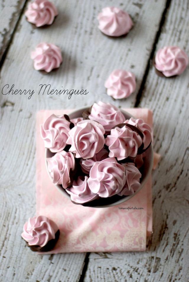 Chocolate Dipped Cherry Meringues