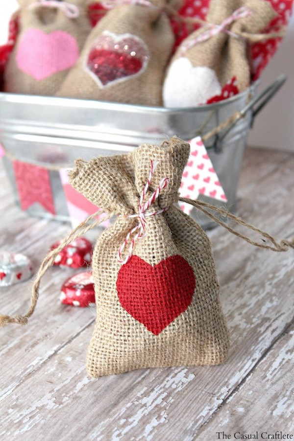 """This craft project was so quick and easy! I absolutely love projects like this one. It took no time at all to make these cute heart DIY Valentine's Day burlap gift bags."" by The Casual Craftlete"