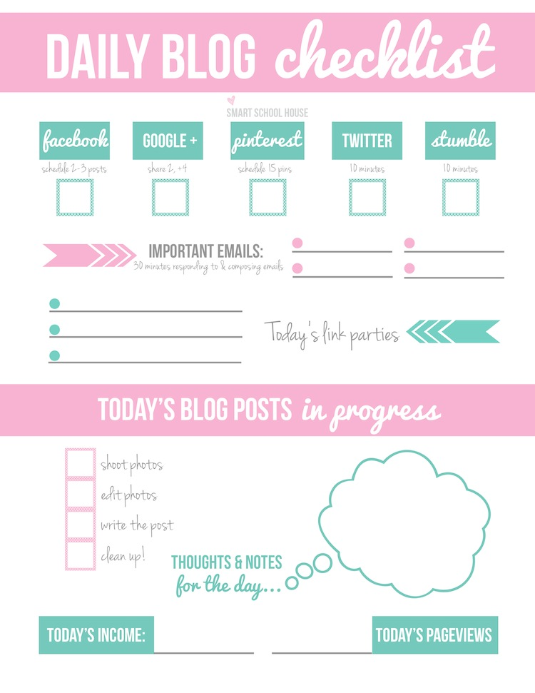 How to Make Money Blogging (my tips!) Organize with a free Daily Blog Checklist Printable