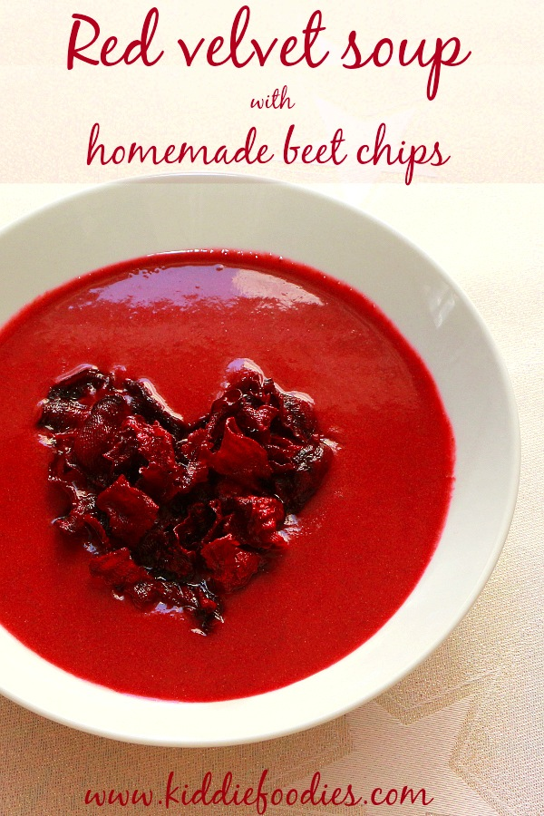 This Red Velvet Soup with Homemade Beet Chips by Kiddie Foodies is a Valentine's recipes that you simply cannot miss!