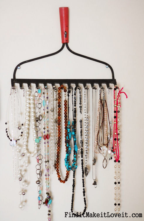 DIY Jewelry Organizer from a Vintage Rake
