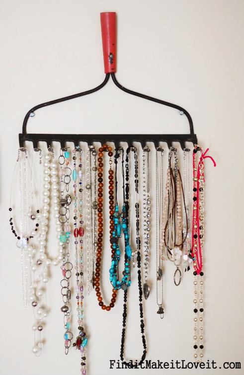 DIY Jewelry Organizer from a Vintage Rake