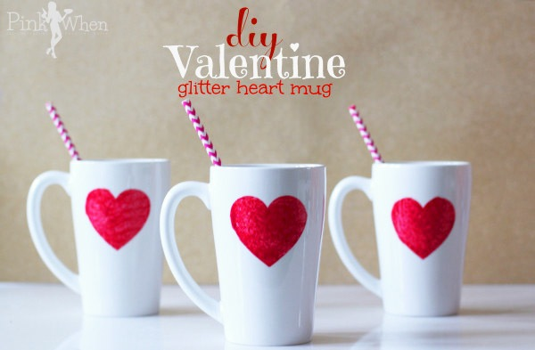 I'd love to sip some coffee out of this DIY Valentine Glitter Mug by Pin When