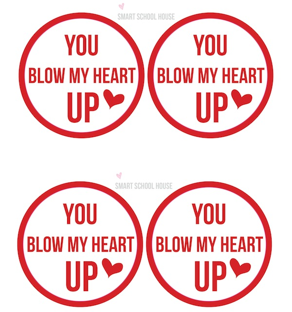 photo regarding Printable Valentine Craft identify Blow My Middle Up - Bubble Gum Valentine Craft Designs