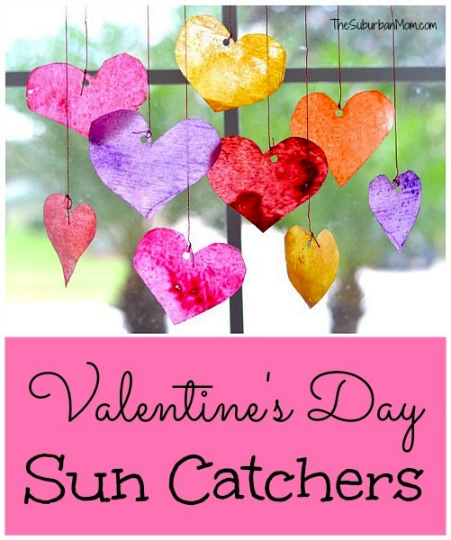 These Valentine's Sun Catchers by The Suburban Mom are a perfect DIY craft for kids!