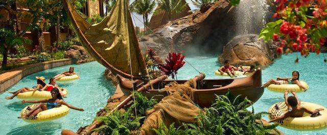 The lazy river at Disney's Aulani Resort in Hawaii