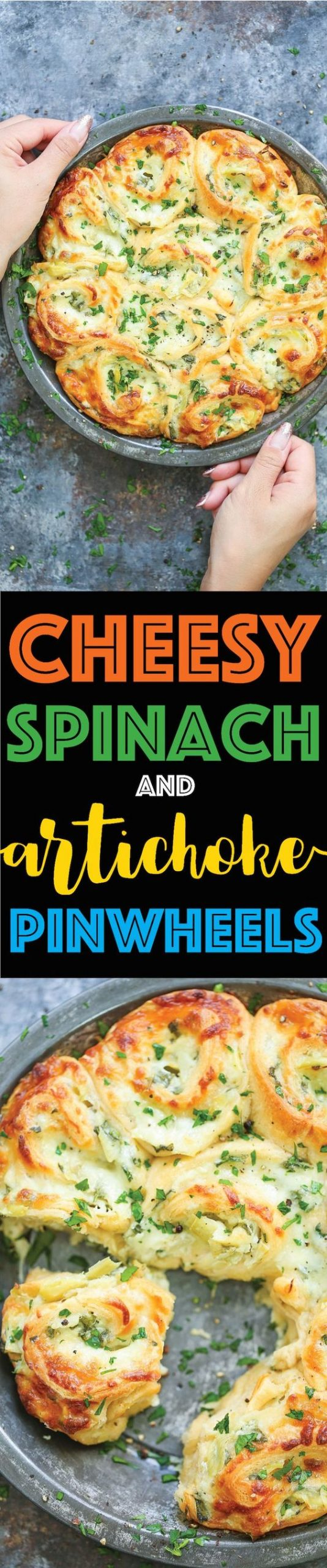 Cheesy Spinach and Artichoke Pinwheels - Everyone's favorite spinach and artichoke dip in these cheesy, creamy BAKED roll ups!!! So good for GAME DAY!!!