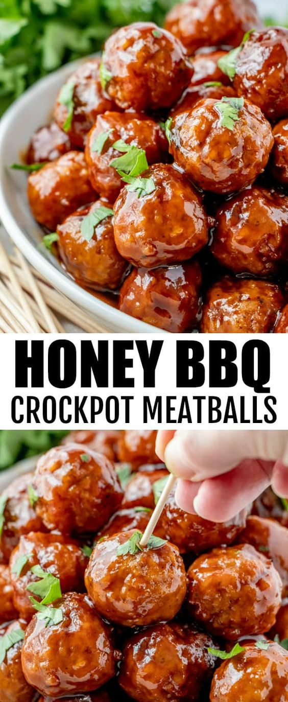 Honey BBQ Crockpot Meatballs - Quick and easy to whip up these Honey BBQ Crockpot Meatballs are minimal ingredients and one of the best party appetizers that feed a crowd.
