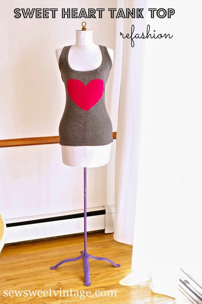 Sew Sweet Vintage made this Sweet Heart Tank Top! Who knew it was an upcycle? I need it.