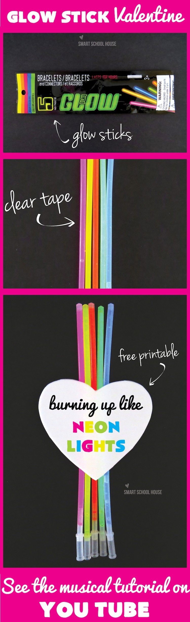Valentine- we'll be burning up like neon lights! A neon glow stick valentine craft (plus video)