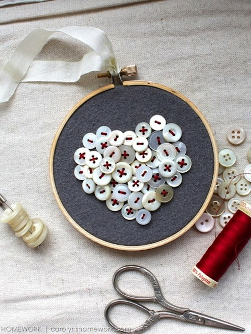 Vintage Button Heart by Homework