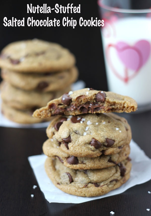 Nutella-Stuffed & Salted Chocolate Chip Cookies by Blahnik Baker