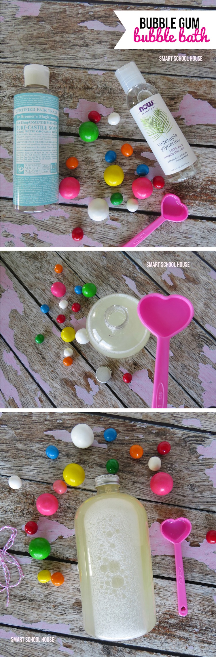 An incredibly simple and cute tutorial for Bubble Gum Scented Bubble Bath!