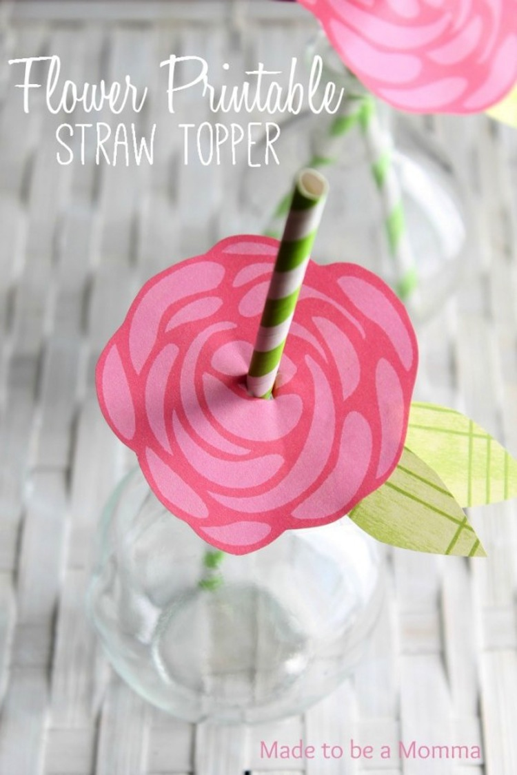 Flower Printable Straw Topper