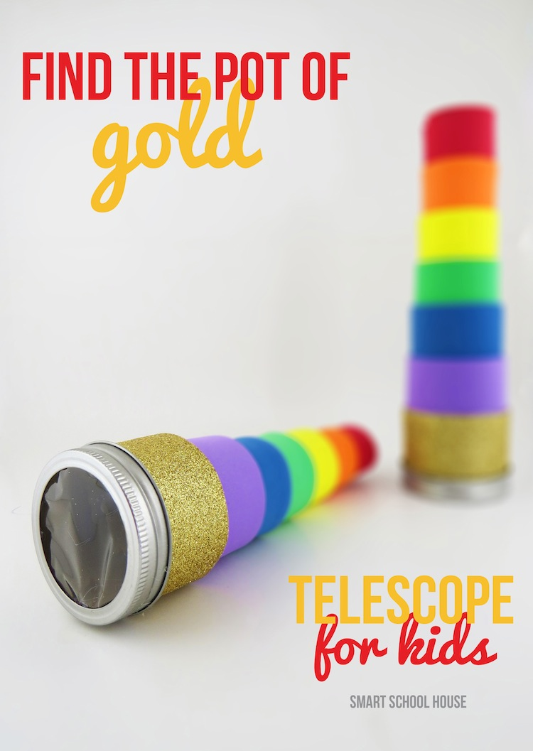 Find the Pot of Gold Telescope! A rainbow, leprechaun, four leaf clover finding telescope for kids!