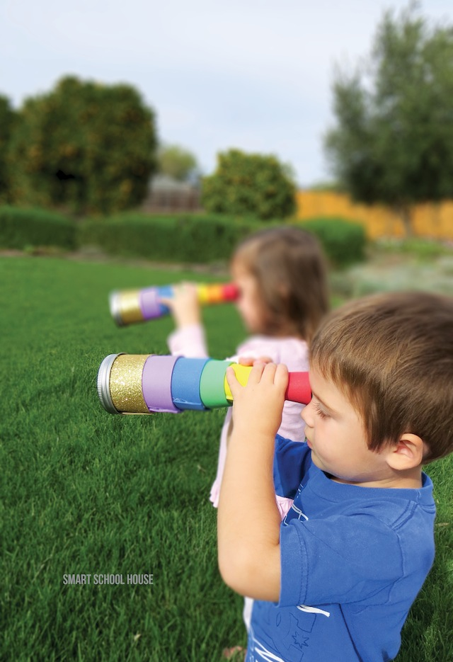 How to make a telescope to find the pot of gold! A rainbow, leprechaun, four leaf clover finding telescope for kids! Helps you find anything you can image or set out to see