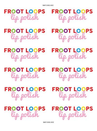 Froot Loops Lip Polish Labels