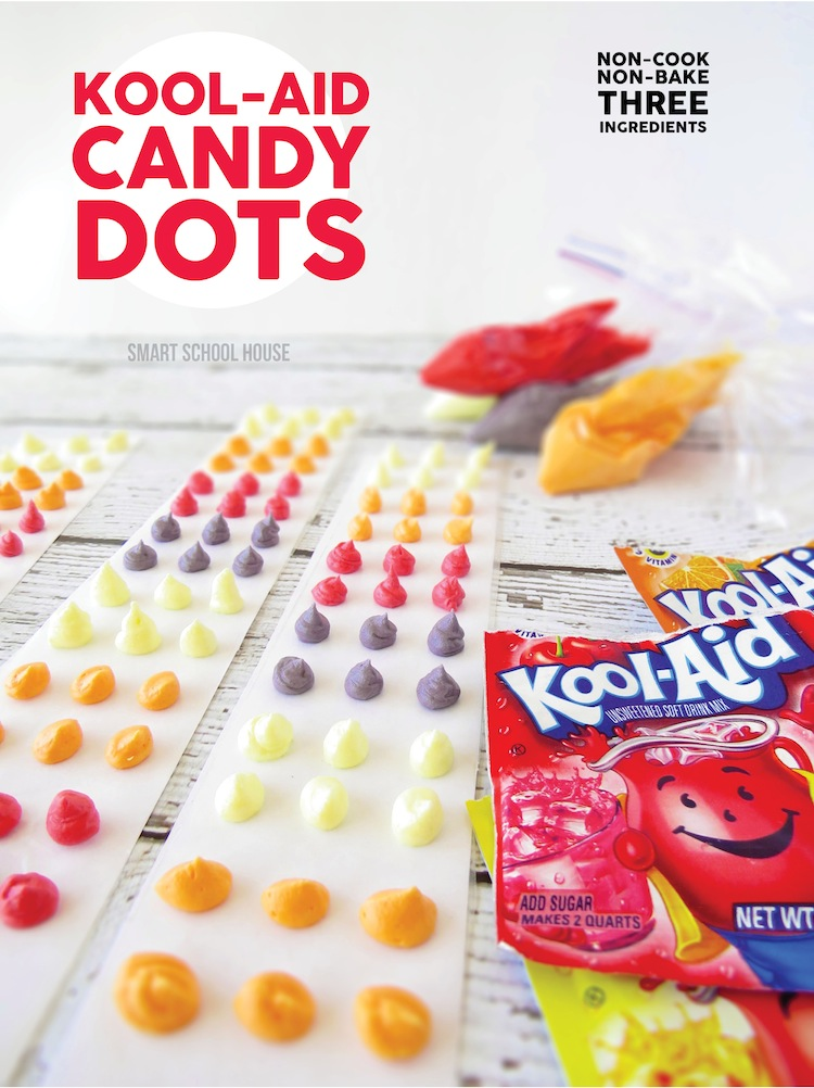 Kool-Aid Candy Dots. An easy candy recipe that doesn't require any cooking!