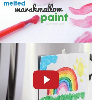 Marshmallow Paint. Made with real marshmallows! Completely edible. Works on cookies or paper! #marshmallowpaint