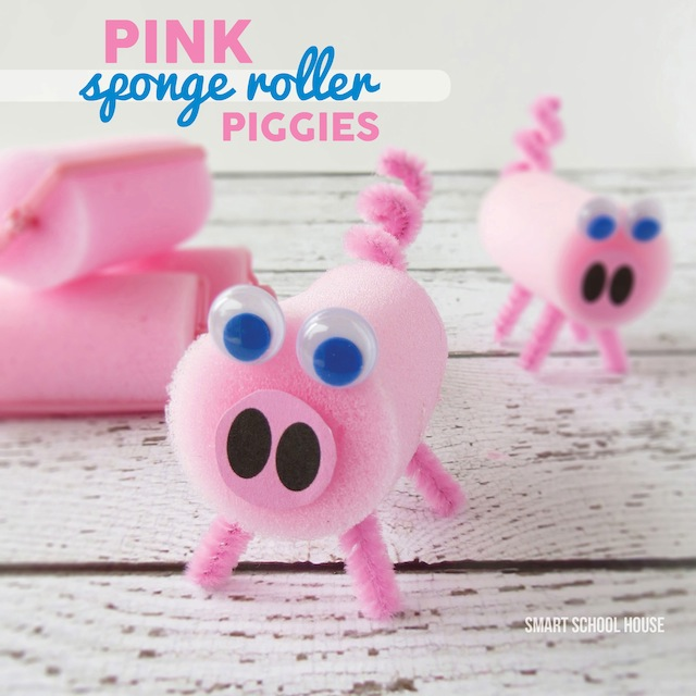 How to make Sponge Roller Pigs with supplies from the dollar store. Excellent for young children to create.