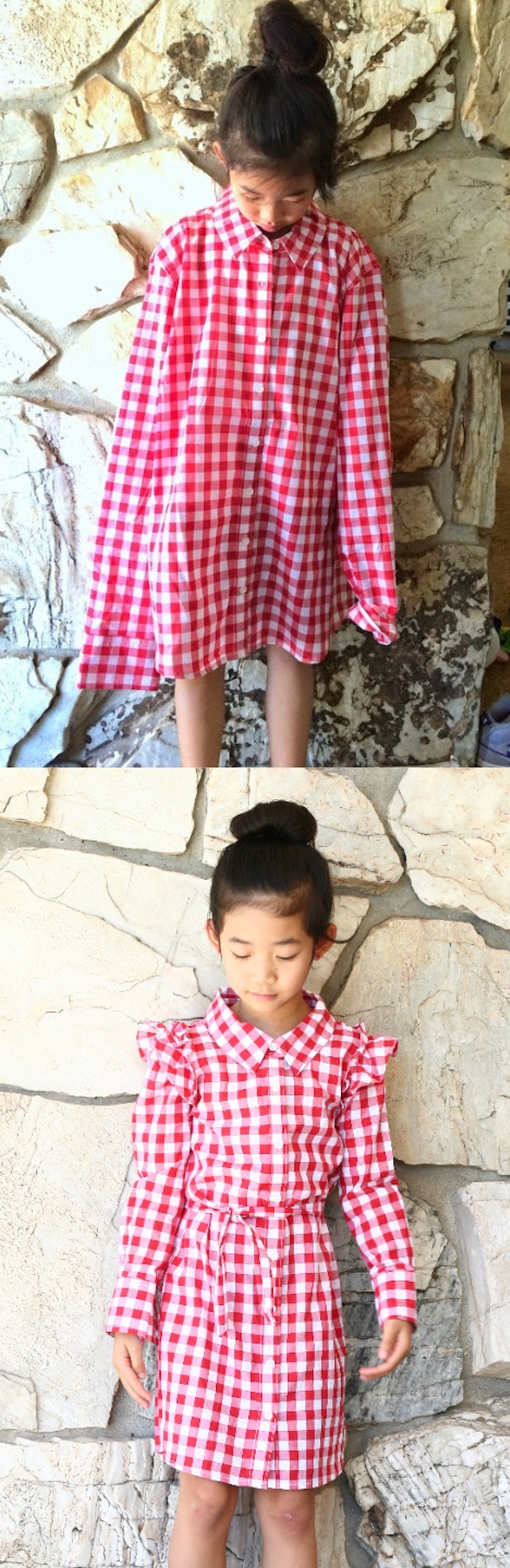 Turn an XL Woman's Shirt into a Girl's Dress